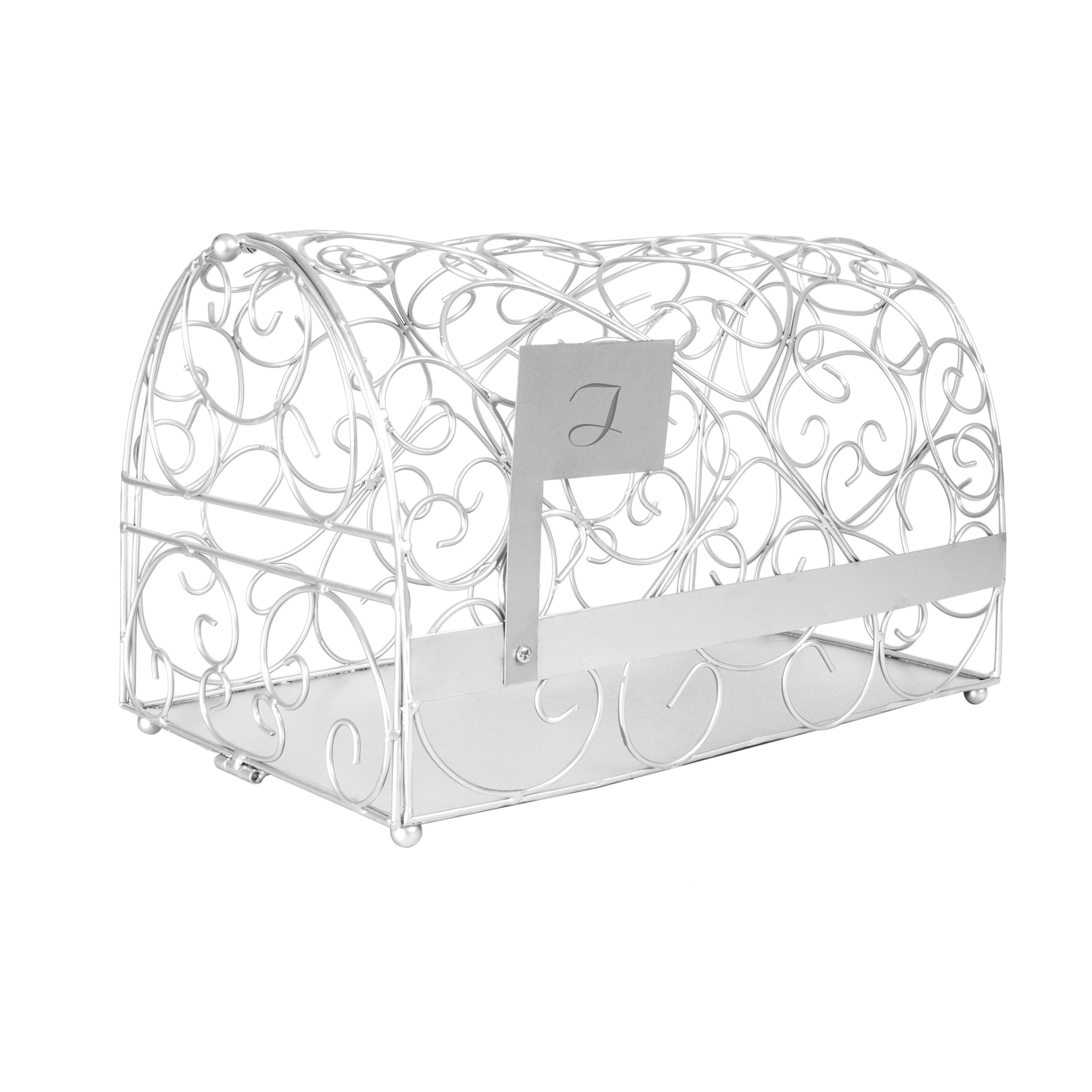 Cathy's Concepts Personalized Reception Gift Card Mailbox, Silver, Letter I
