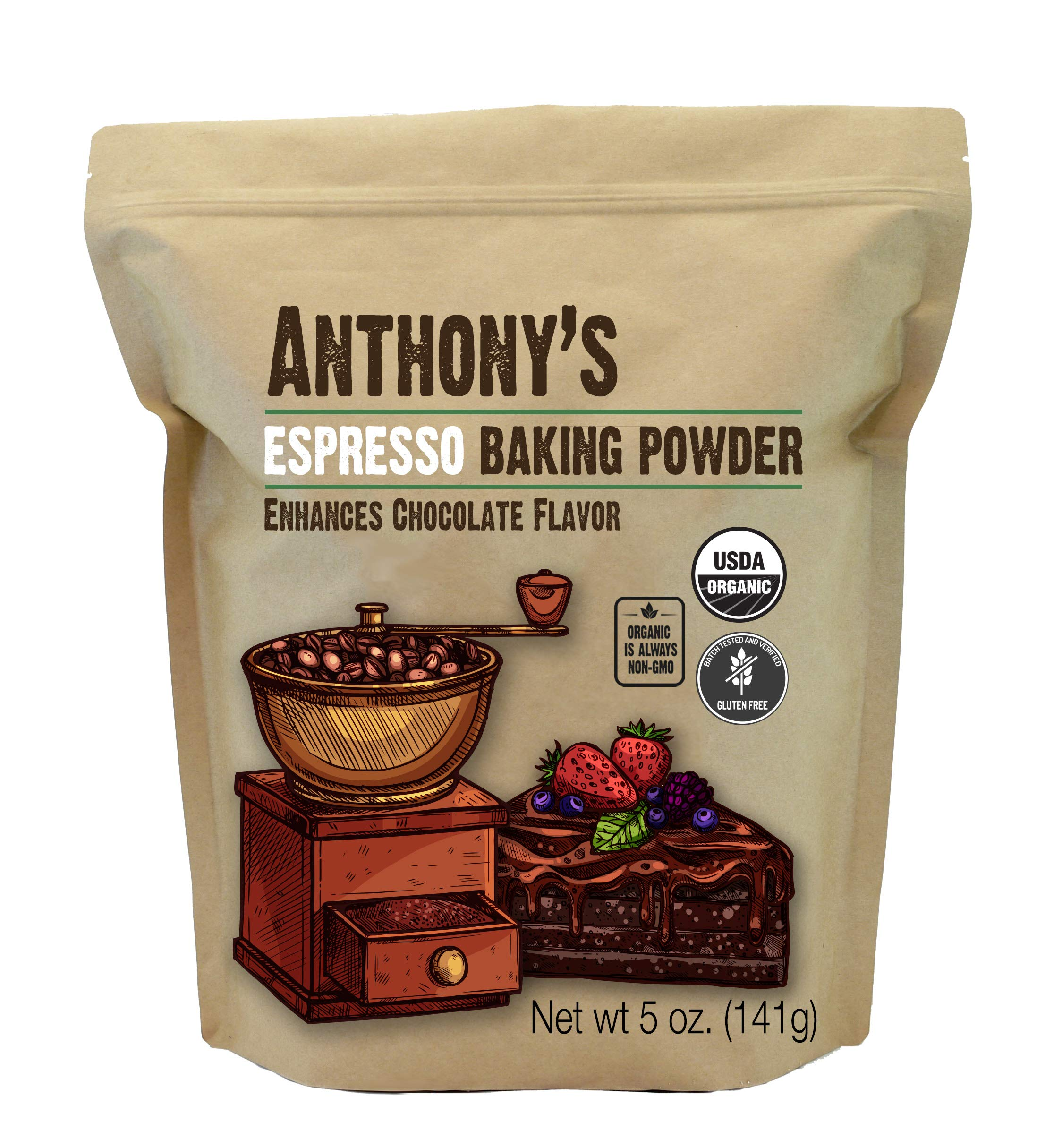 Anthony's Organic Espresso Baking Powder, 5 oz, Gluten Free, Non GMO, Enhances Chocolate Flavor