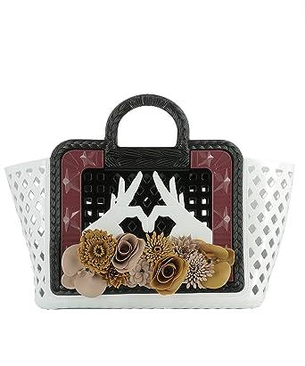 b730369b77 Paula Cademartori Women s 07225PARATIDD White Black Pvc Handbag   Amazon.co.uk  Clothing