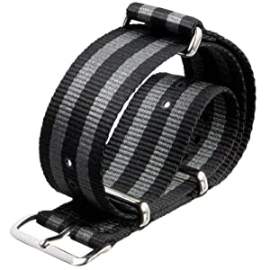 NATO G10 Watch Strap by ZULUDIVER¨ Classic Bond Black and Grey Stripes