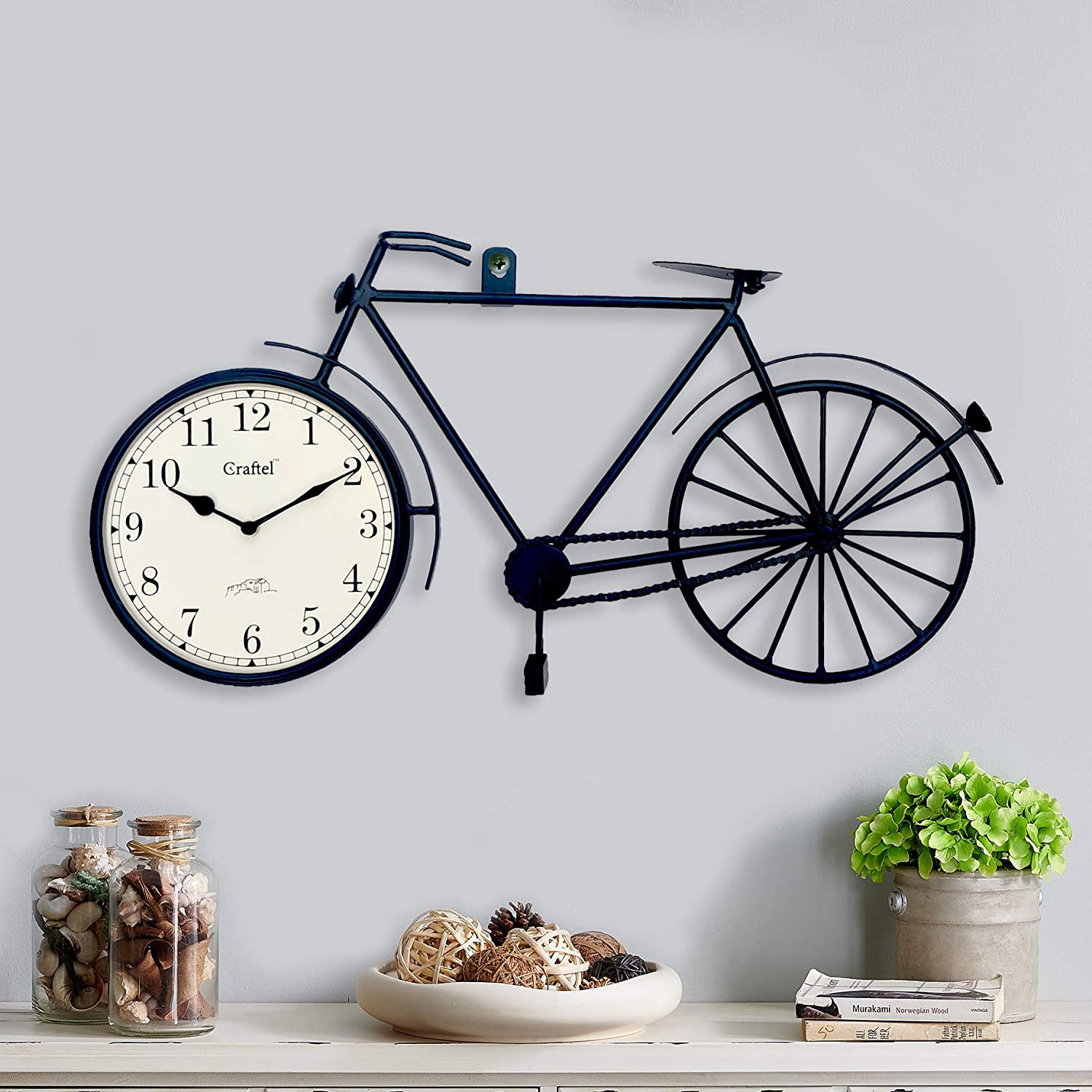 "12.)Craftel, Handmade Cycle Shaped Powder Coated Iron Metal Wall Clock (24"" x 12"")"