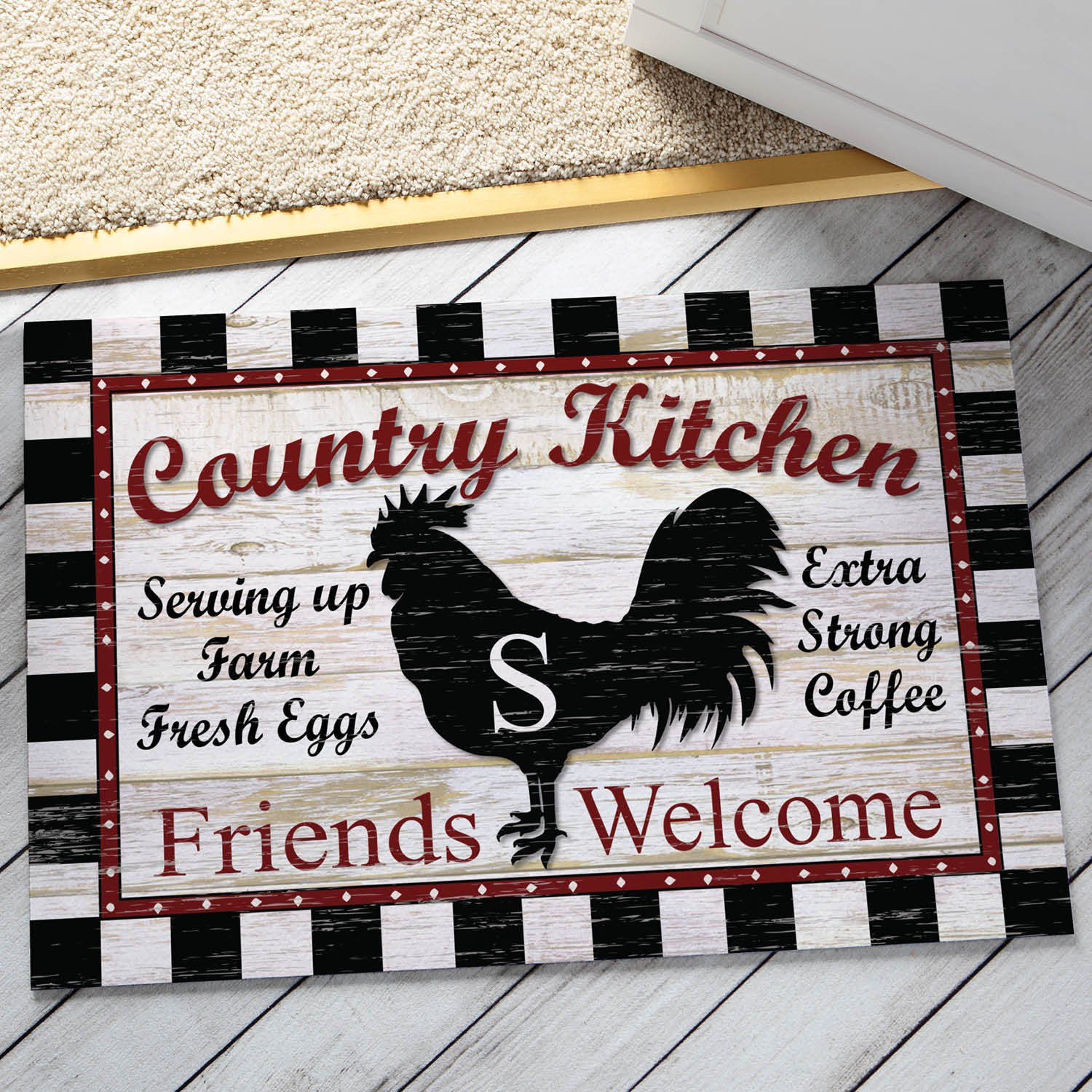 1 Piece 18 x 27 Black Red White Z Initial Country Kitchen Rooster Area Mat Rectangle, Indoor Checkered Chicken Hen Floor Mat, Animal Checkered Pattern Abstract New Home Contemporary, Suede