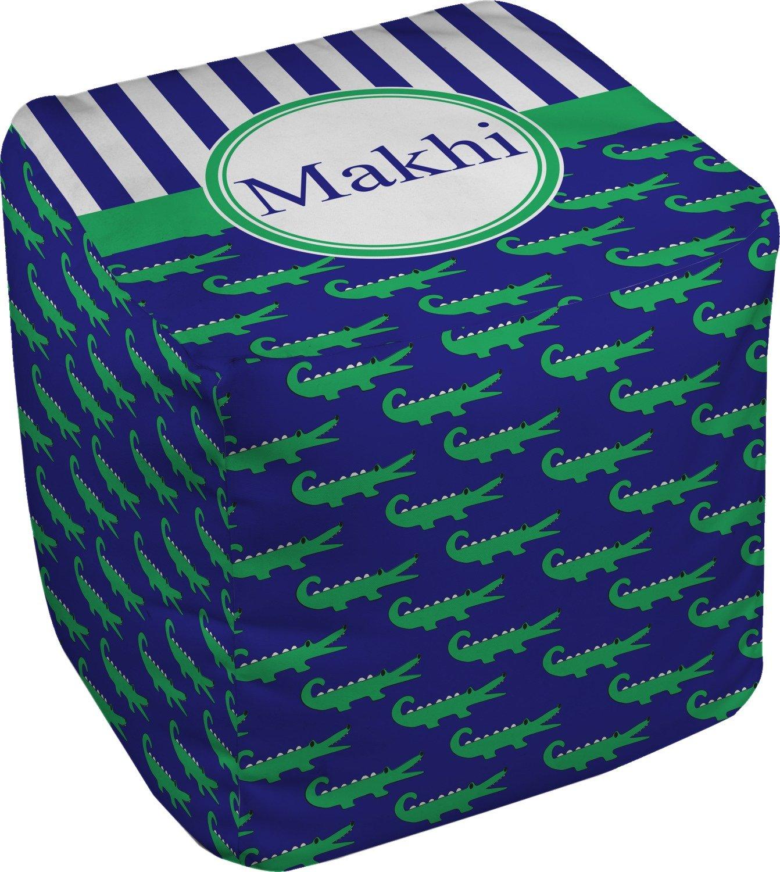 RNK Shops Alligators & Stripes Cube Pouf Ottoman - 13'' (Personalized)