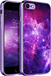 BENTOBEN iPhone SE 2020 Case, iPhone 8 Case, iPhone 7 Case, Slim Fit Glow in The Dark Soft Flexible Bumper Protective Shockproof Anti Scratch Non-Slip Cases Cover for iPhone 8/7/SE 2020, Nebula/Galaxy