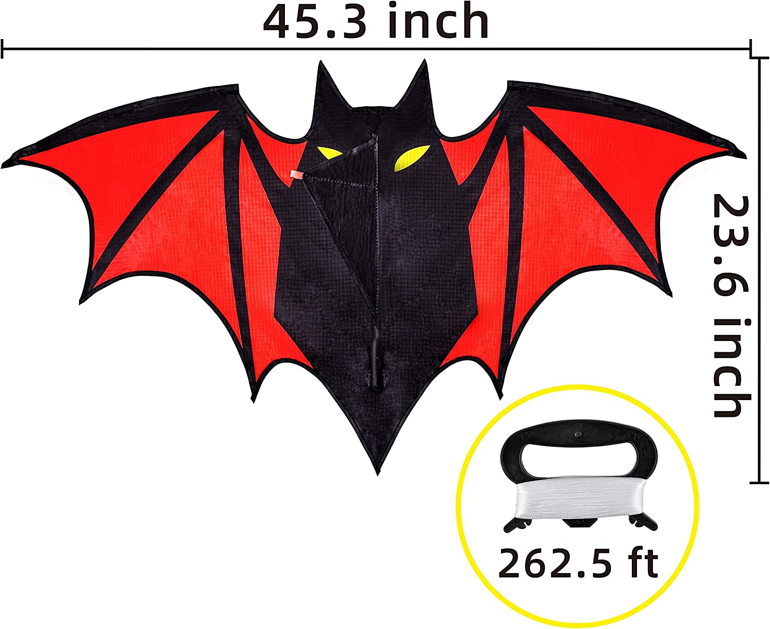 Beginners and Pros to Spend Time with Friends and Family for Outdoor Activity JOYIN Bat Kite Easy to Fly Beginner Kites for Kids and Adults Summer Games