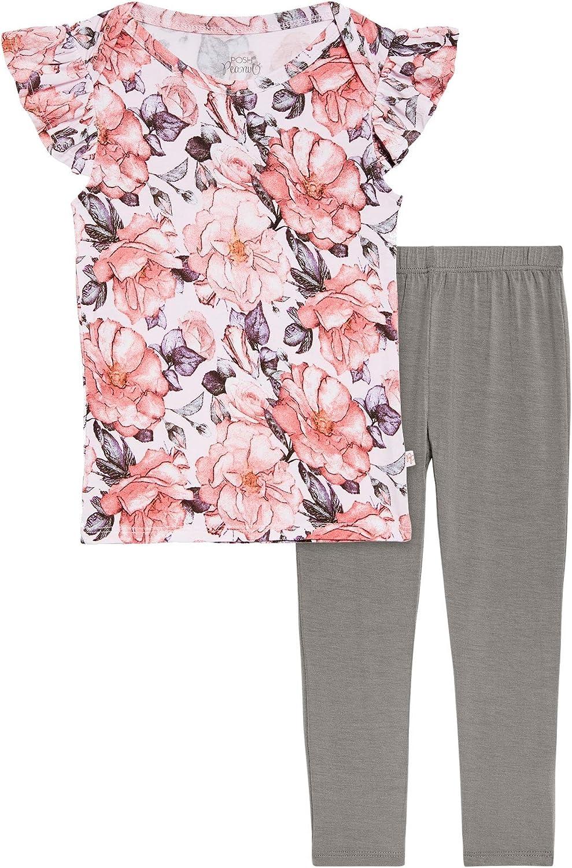 Soft Viscose Bamboo Posh Peanut Toddler Ruffled Cap Sleeve Shirt Kids Two Piece Pants Set Little Girl Clothes