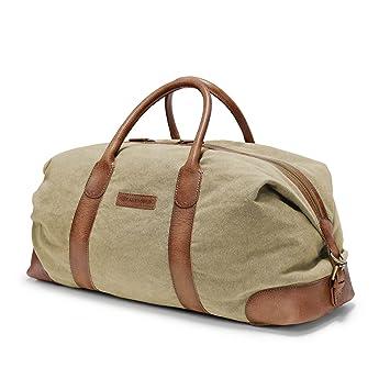 DRAKENSBERG Kimberley Duffel Weekender, sac de voyage, fourre-tout, artisanat, carry-all, toile, canvas, cuir de buffle, expédition, aventure, vintage, bleu marine, marron
