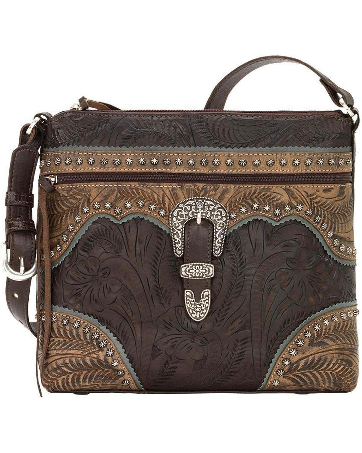 American West Women's Saddle Ridge Zip Top Shoulder Bag Chocolate One Size