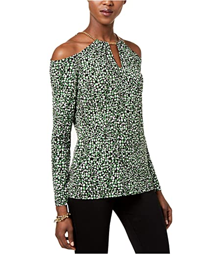 6a52ed5dfef403 Michael Michael Kors Women s Star-Print Cold-Shoulder Chain Top  (Brightpm Black