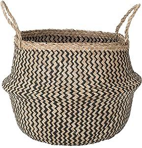 Sona Home Multipurpose Seagrass Basket, 4 Sizes, 2 Styles, Belly Basket, Plant Basket, Blanket Holder, Decorative Storage Baskets (Large Black Chevron)