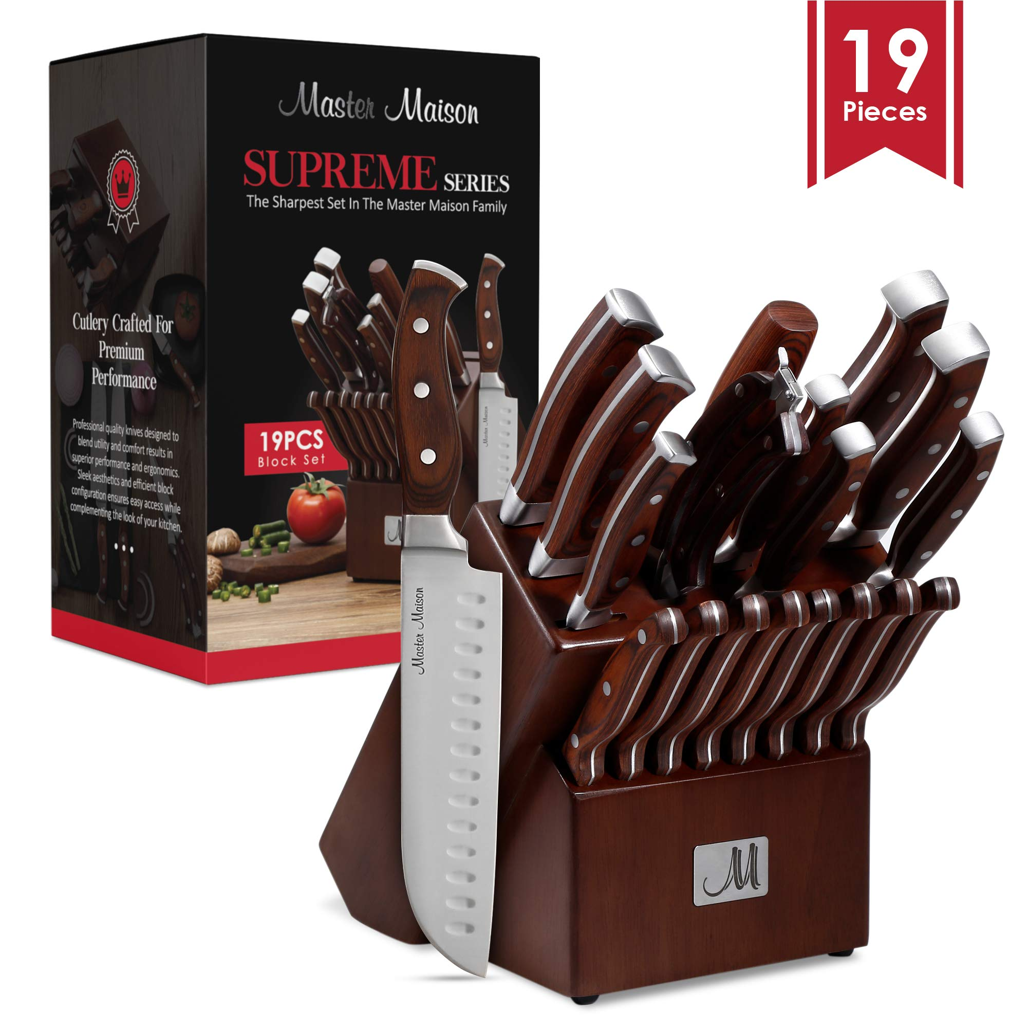 19-Piece Premium Kitchen Knife Set With Wooden Block | Master Maison German Stainless Steel Cutlery With Knife Sharpener & 8 Steak Knives by Master Maison