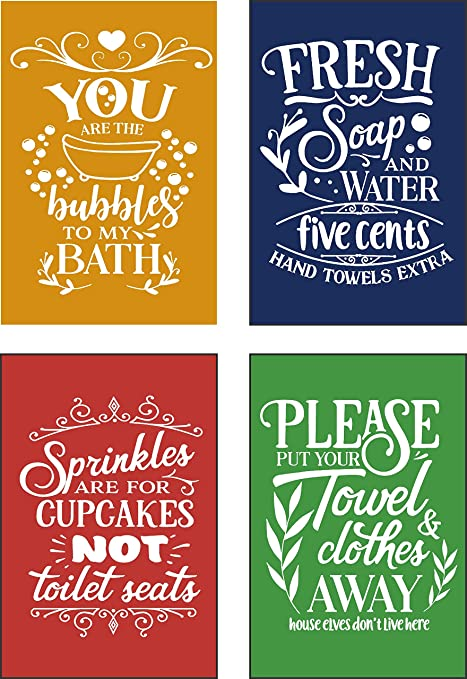 Bathroom Unframed Wall Art Pictures Set Of 4 Funny Bathroom