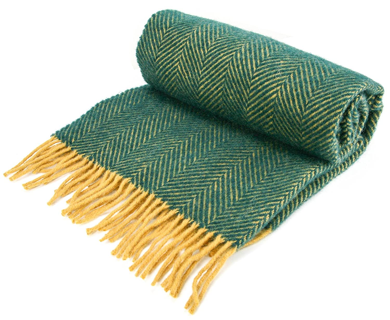 Herringbone - Pure New Wool - Knee Rug Throw Small Blanket - Emerald/Mustard - British Made by Tweedmill Textiles