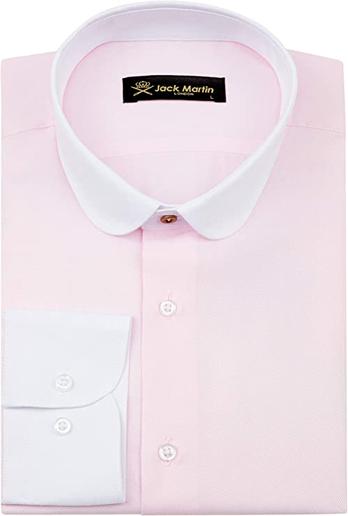 1920s Men's Dress Shirts, Casual Shirts Jack Martin London Peaky Blinders - Club/Penny Collar - Pink Herringbone Slim Fit Shirt $39.00 AT vintagedancer.com