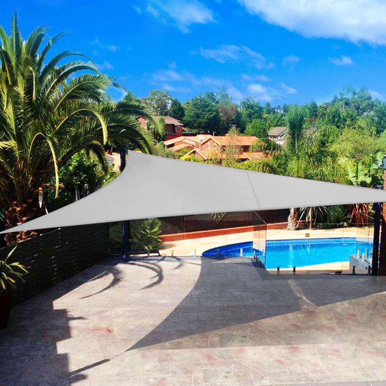 Shade&Beyond Sun Shade Sail Triangle 20'x20'x20' UV Block for Yard Patio Lawn Garden Deck Light Grey