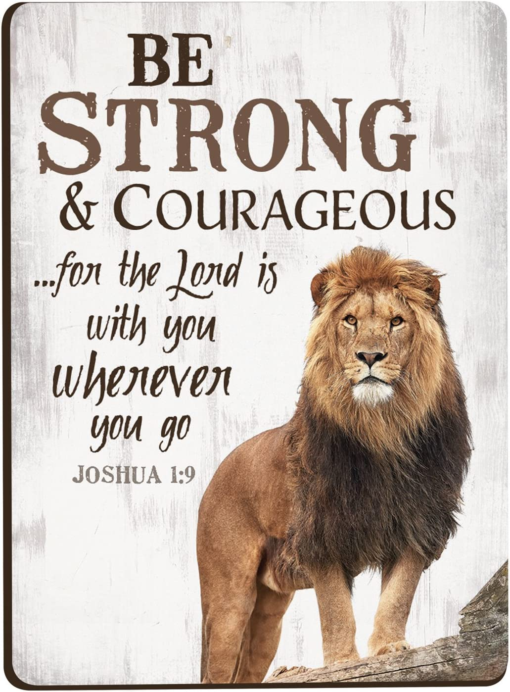 Be Strong & Courageous Lion 3 x 4 Inch Wood Lithograph Magnet