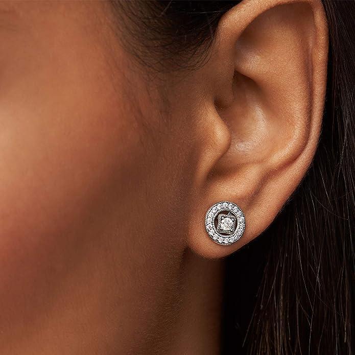 SimpleLif Retro Stud Earrings,Womens Glass Dome Post Earrings,1.5 /× 1.5 cm