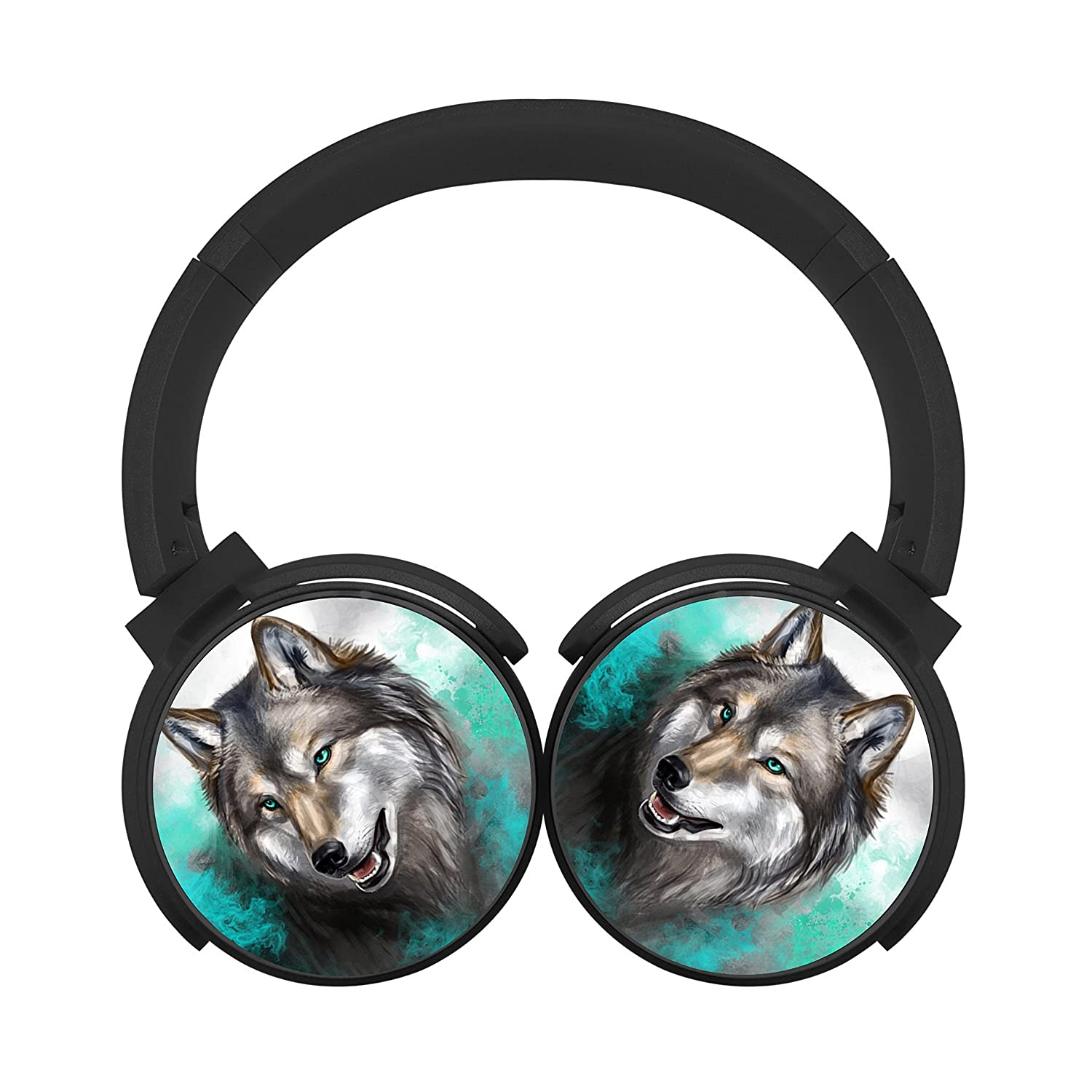 Turquoise Wolf Mobile Wireless Bluetooth Customized Over Ear Headphones Black