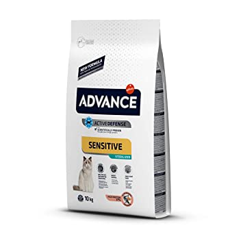 Advance Advance Sensitive Pienso para Gato Esterilizado Adulto con Salmón - 10000 gr: Amazon.es: Productos para mascotas