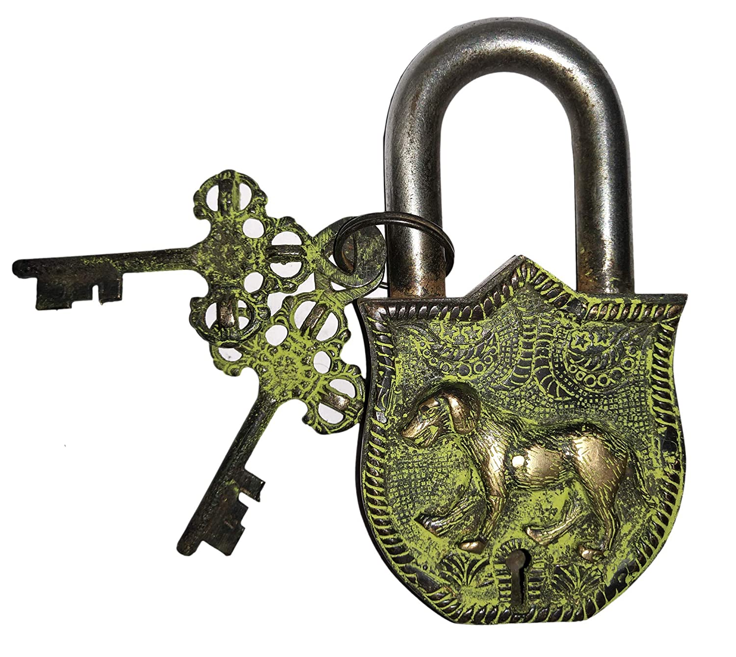 Handmade Antique Design Unique Collectible Combination of Style /& Security with 2 Keys Laxman Art Dog Design Brass Lock Padlock