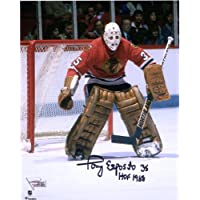 """Tony Esposito Chicago Blackhawks Autographed 8"""" x 10"""" Red Jersey in Net Photograph with""""HOF 1988"""" Inscription… photo"""