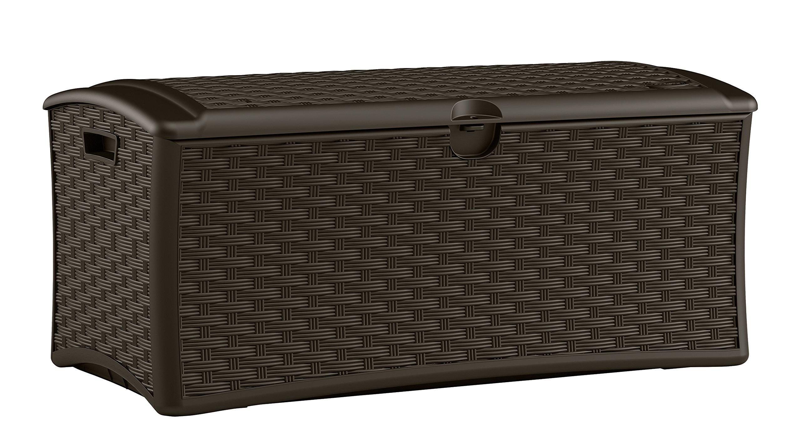 Suncast DBW7000 Resin Wicker Deck Box, 72 gallon
