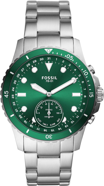 Fossil Smartwatch Híbrido para Hombre de Connected con Correa en Acero Inoxidable FTW1301