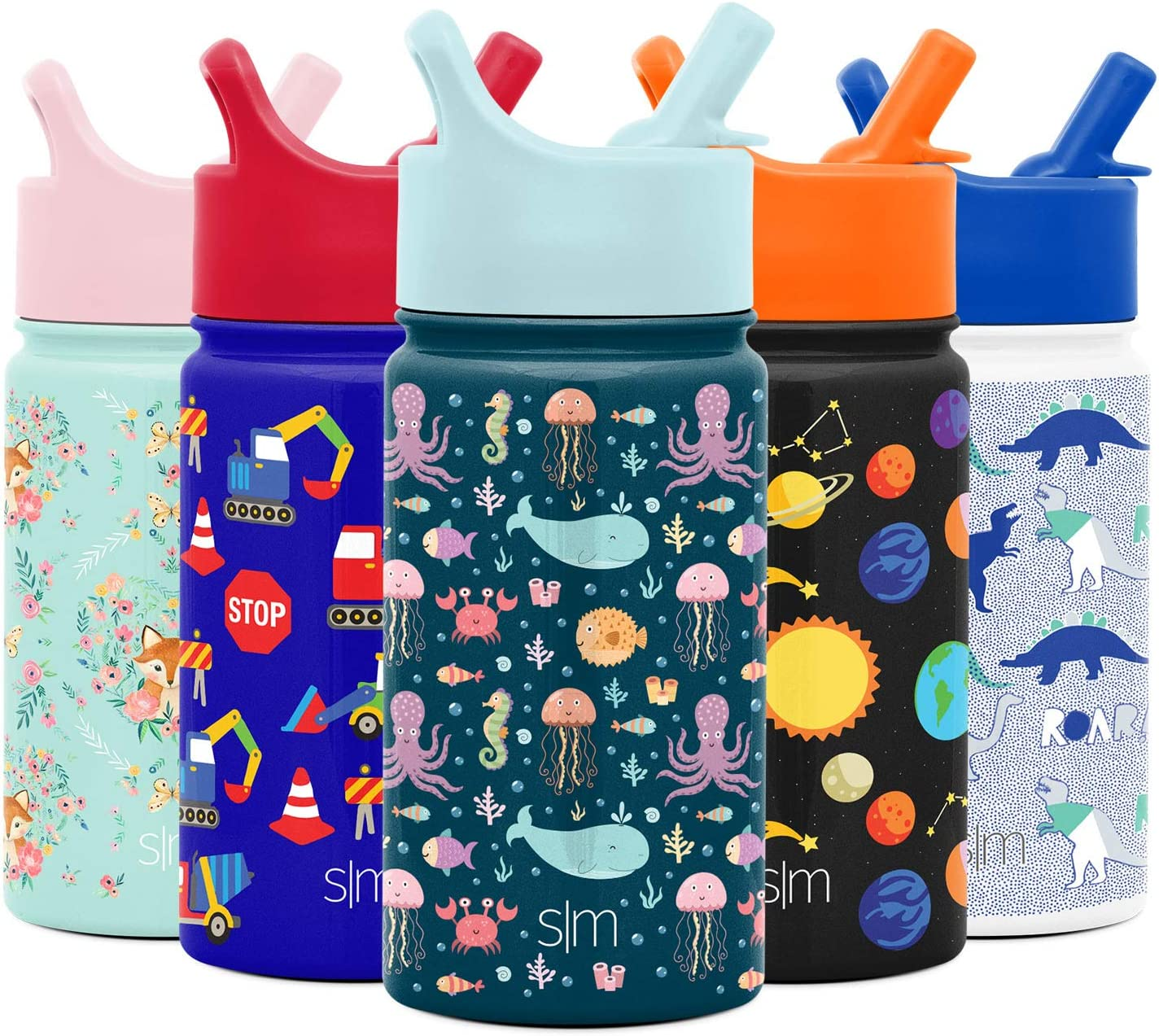 Simple Modern 14oz Summit Kids Water Bottle Thermos with Straw Lid - Dishwasher Safe Vacuum Insulated Double Wall Tumbler Travel Cup 18/8 Stainless Steel - Under the Sea