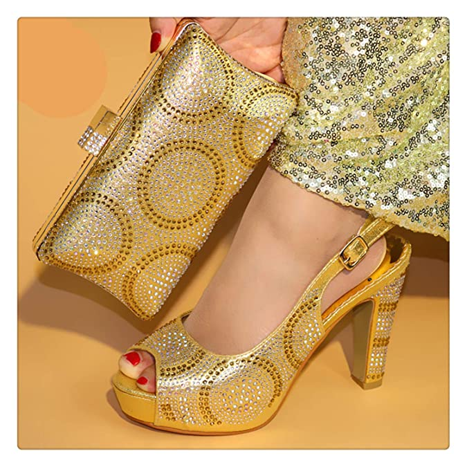 502079ac28b68 Amazon.com: Msanlixian African Italian Shoes and Bag Set Gold Color ...