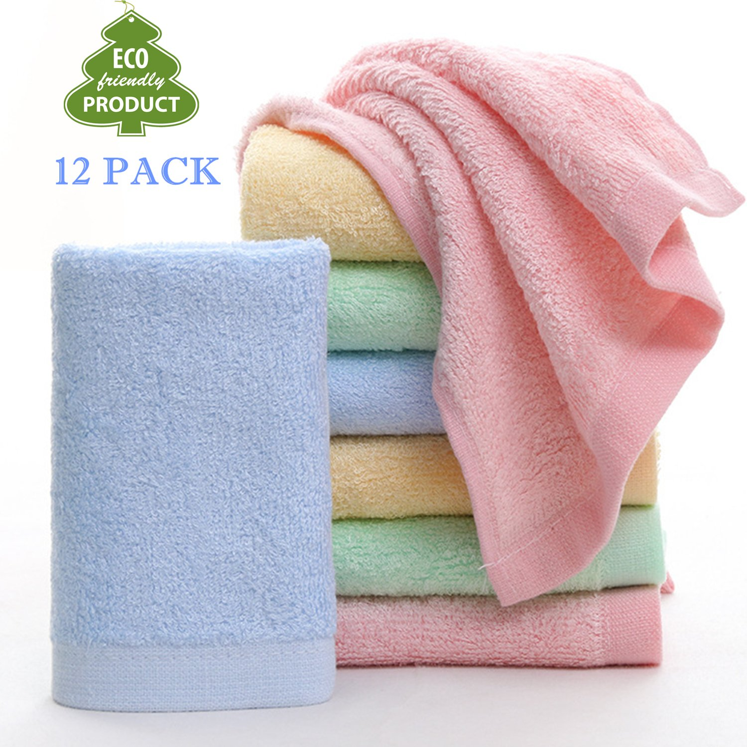 Baby Washcloths Natural Organic Washcloth Bamboo, Baby Face Towels - Extra Soft For Newborn/Infant/Kids/Adults - Ultra Soft For Baby Registry as Shower Gift Set By Leepem baby,11.8x11.8inch. (12 Pack)