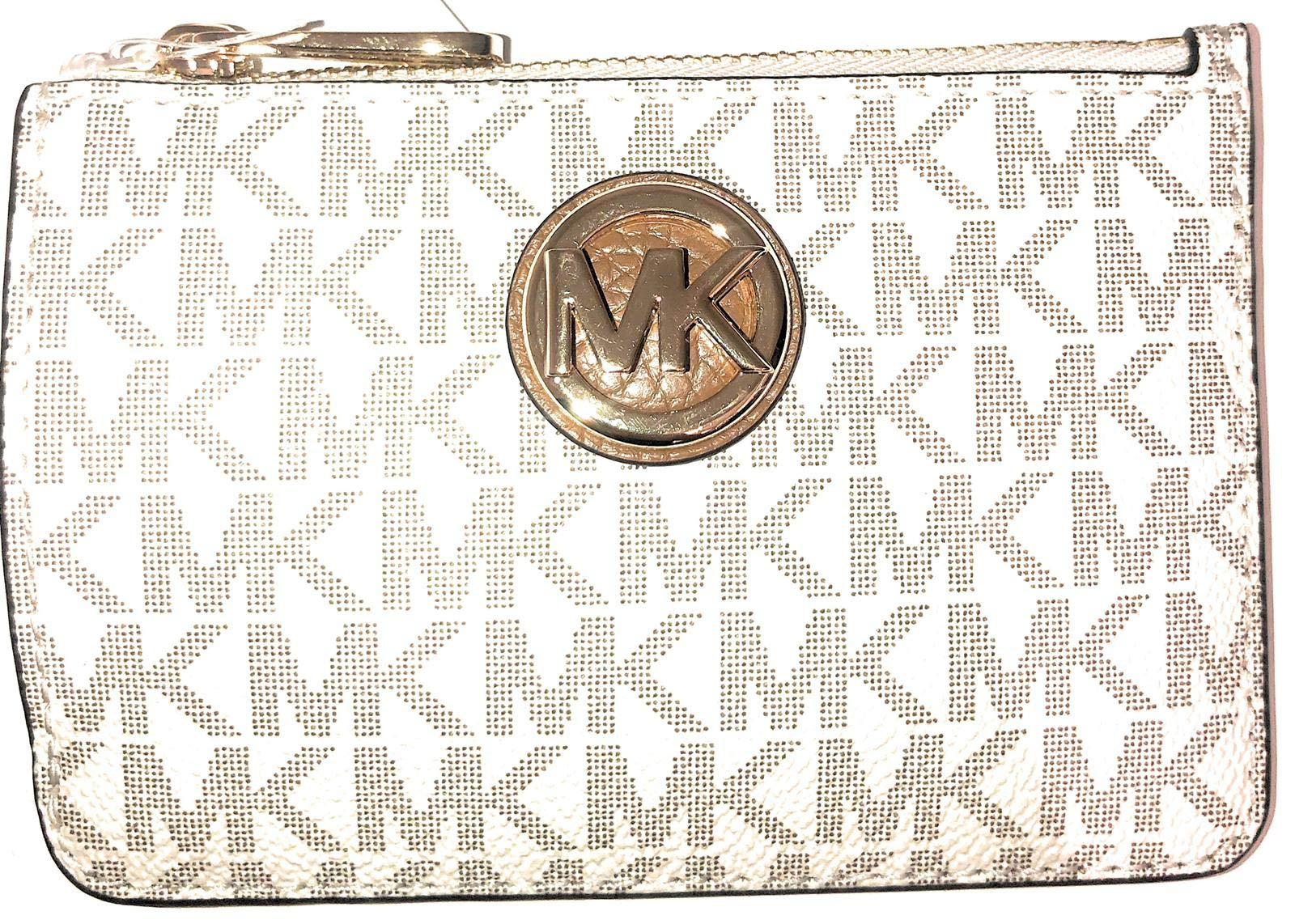 Michael Kors Fulton Small Top Zip ID Coinpouch with key Chain (Vanilla PVC)