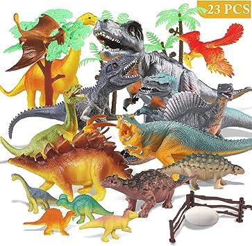 Estela Joylink - Juego de 17 Figuras de Dinosaurio realistas, Juguetes para Fiestas de cumpleaños Infantiles o decoración, los Cuatro pequeños Dinosaurios Son aleatorios: Amazon.es: Juguetes y juegos