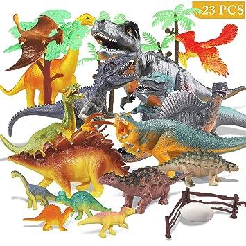 Estela Joylink - Juego de 17 Figuras de Dinosaurio realistas, Juguetes para Fiestas de cumpleaños Infantiles o decoración, los Cuatro pequeños ...