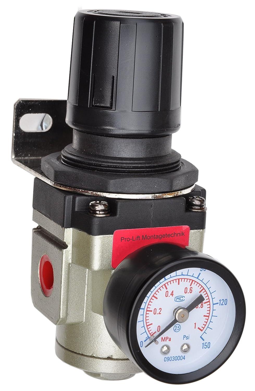 Pro-Lift-Montagetechnik 1/2' Druckminderer max 10bar, Druckluftregler mit Halteblech, 01574