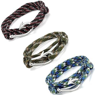 3pcs Bracelet Femme Nylon Lien Aroncent Courbé Hameçon Homme Corde 3ARLjc4q5