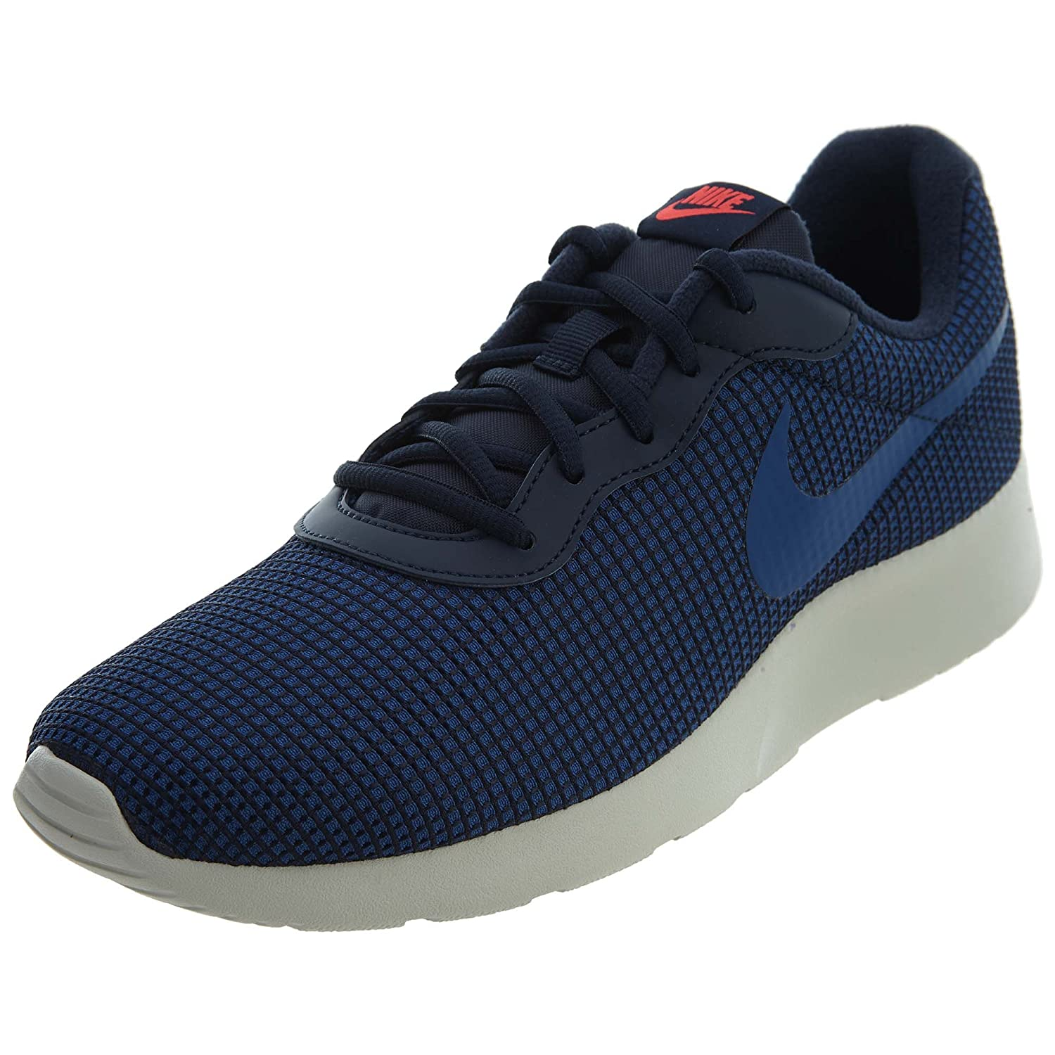 NIKE Men's Tanjun Sneakers, Breathable Textile Uppers and Comfortable Lightweight Cushioning 8.5 D(M) US Obsidian/Gym Blue/Solar Red/Light Bone