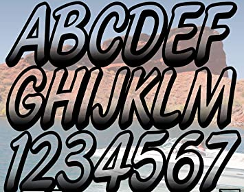Stiffie Whipline Black//Chrome 3 Alpha-Numeric Registration Identification Numbers Stickers Decals for Boats /& Personal Watercraft