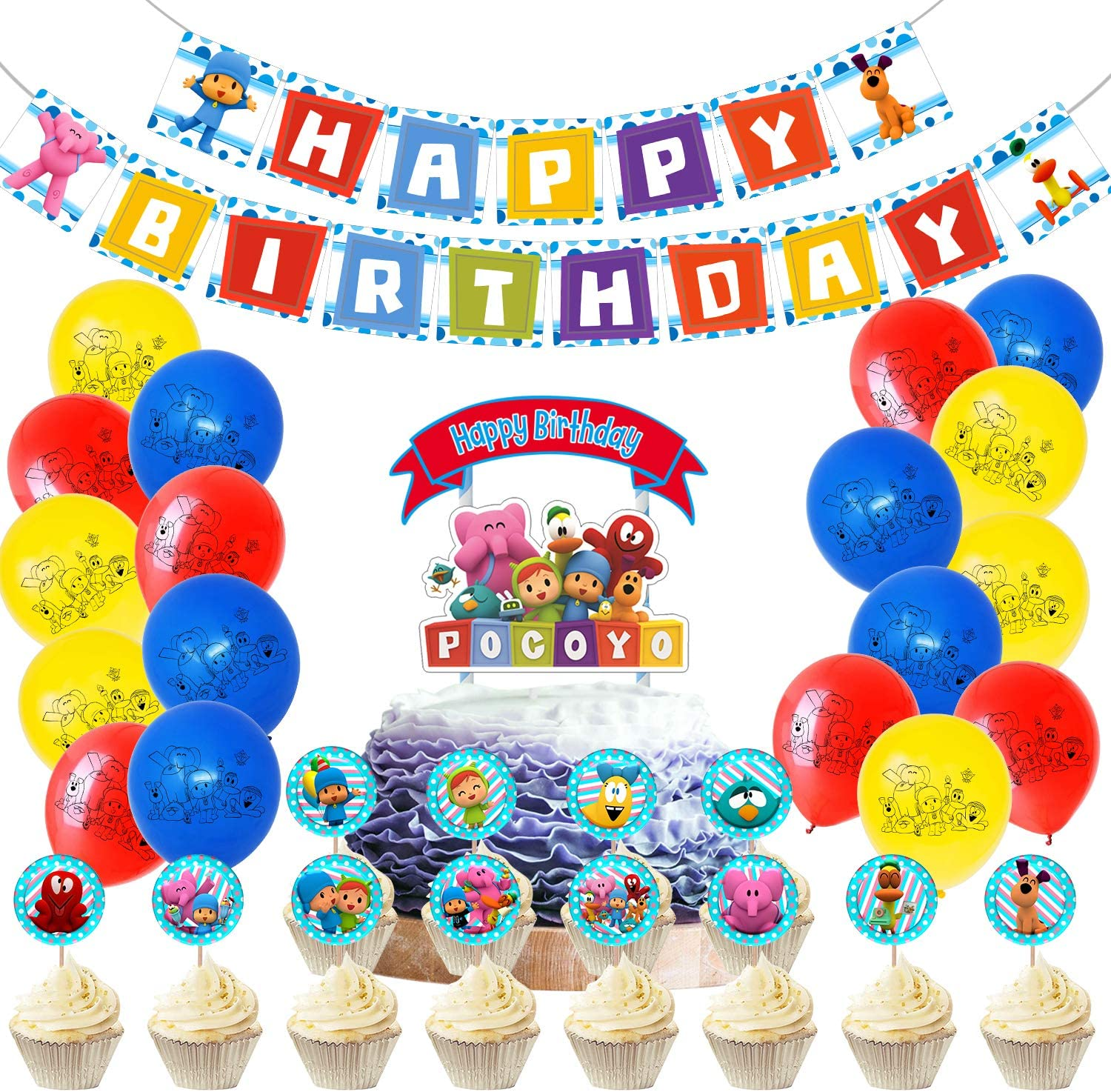Strange Amazon Com Pocoyo Birthday Party Supplies Includes Banner Cake Funny Birthday Cards Online Elaedamsfinfo