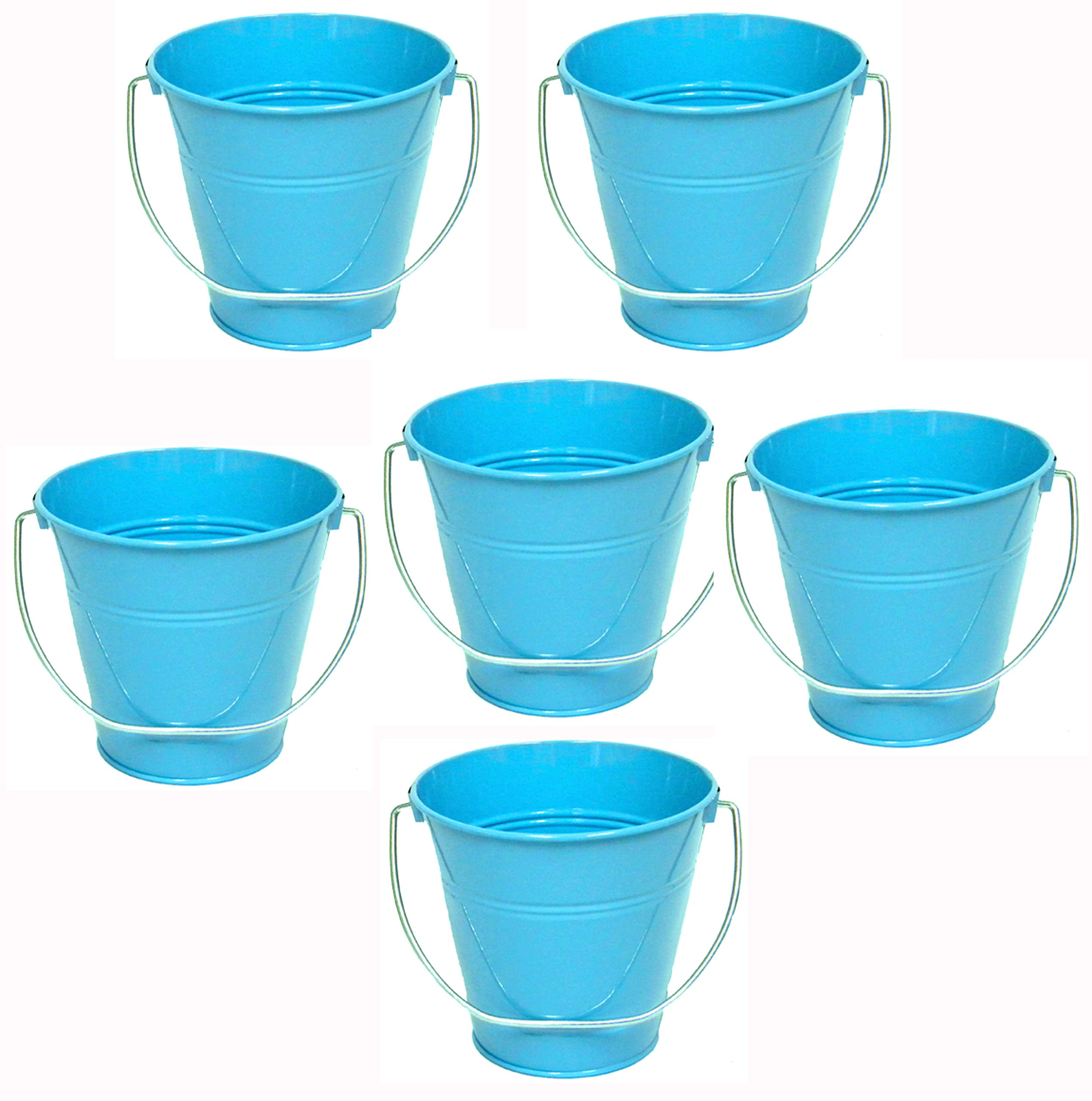 Italia 6-Pack Metal Bucket color Turquoise Size 7.5 x