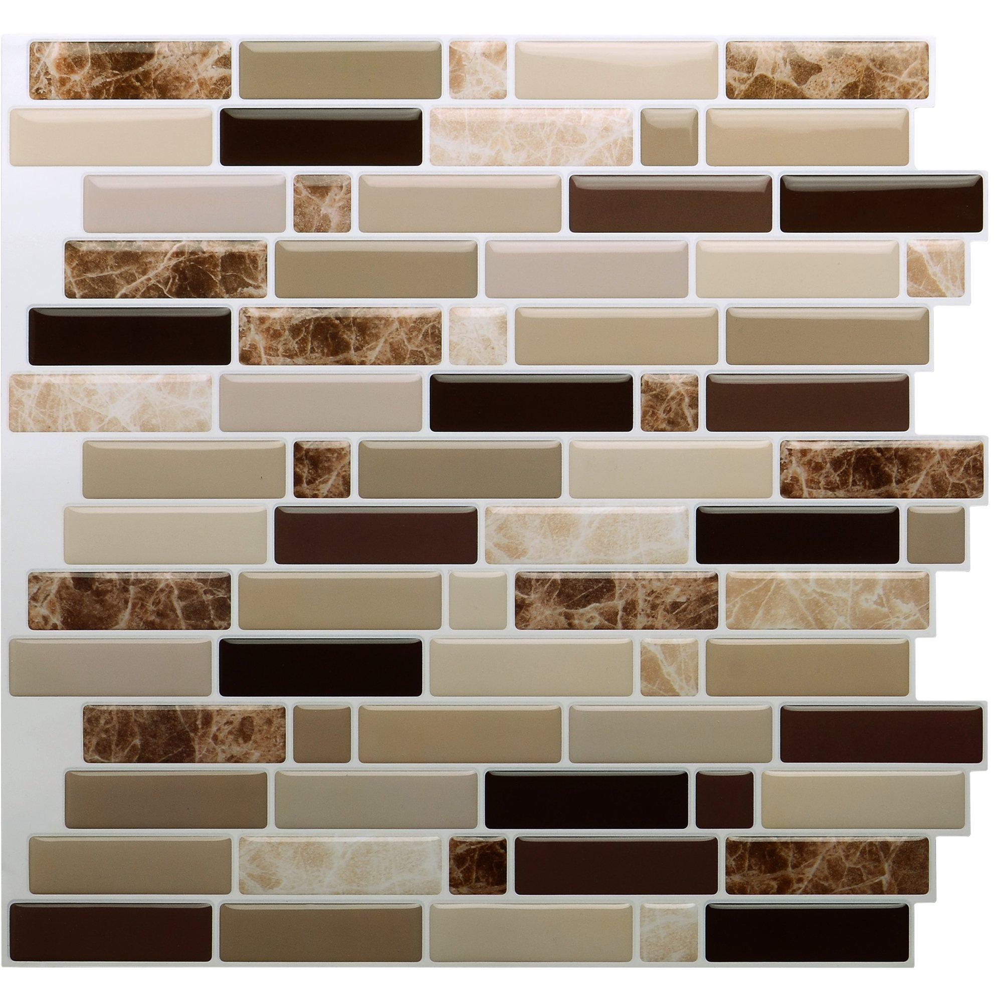 Vamos Tile Premium Anti Mold Peel and Stick Tile Backsplash,Stick On Backsplash Wall Tiles for Kitchen & Bathroom-Self Adhesive-10.62'' x 10'' (6 Sheets)