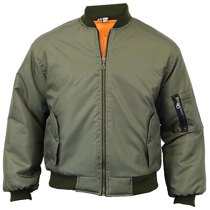 True Wings – MA1 Chaqueta Motero Hombre Militar ejército piloto Seguridad Aviador Portero Obras Verde Verde