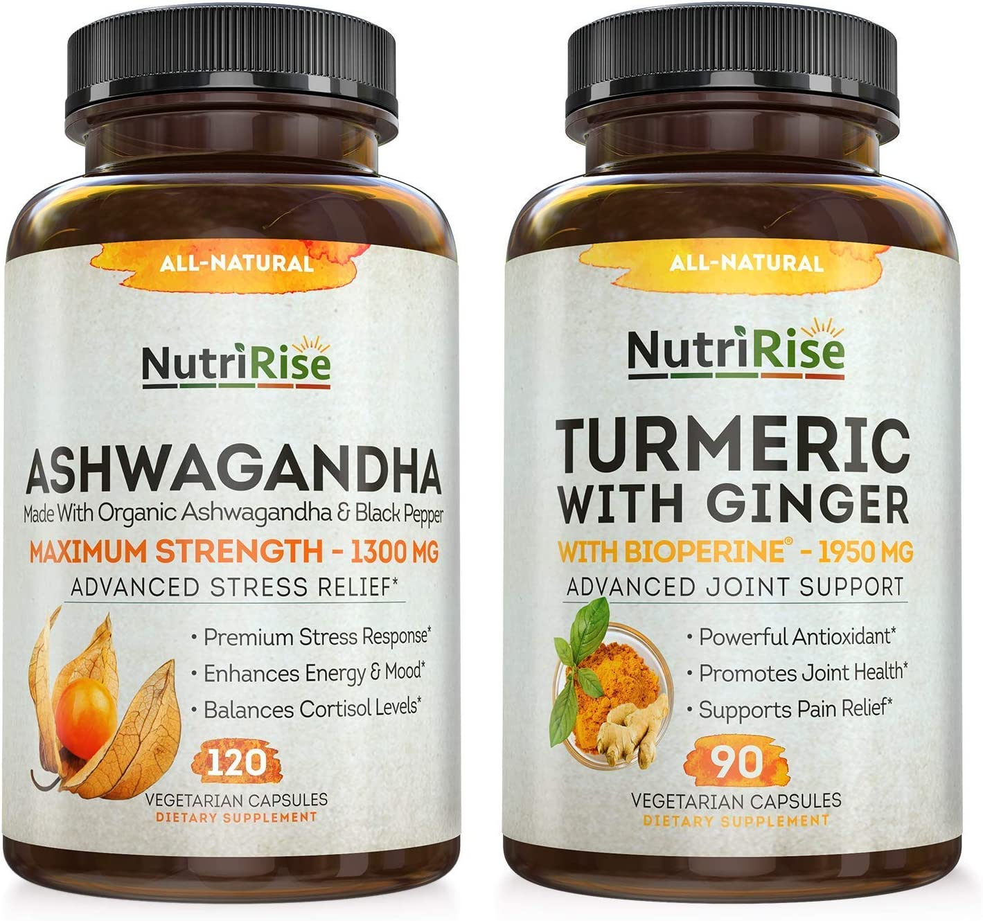 Ashwagandha + Turmeric with Ginger Maximum Strength to Support Stress, Anxiety, Joints & Hormonal Balance - Gluten-Free Adaptogenic Supplement for Mood Relief & Sleeping Aid for Women, Men & Adults