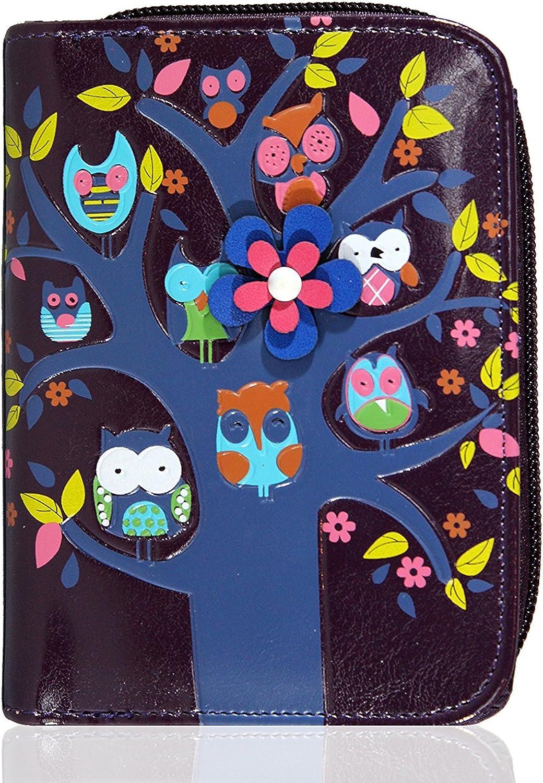 KukuBird Baby Owl Family Tree House Pattern Medium Ladies Purse Clutch Wallet