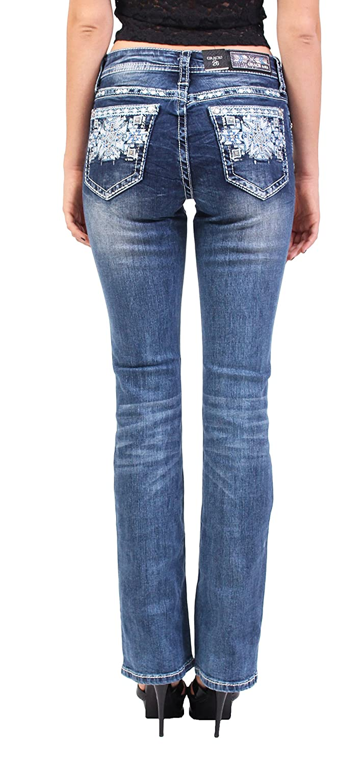Grace in LA Women Faded Boot Cut Jeans with Snow Floral Print and Rhinestones 29 Medium Denim