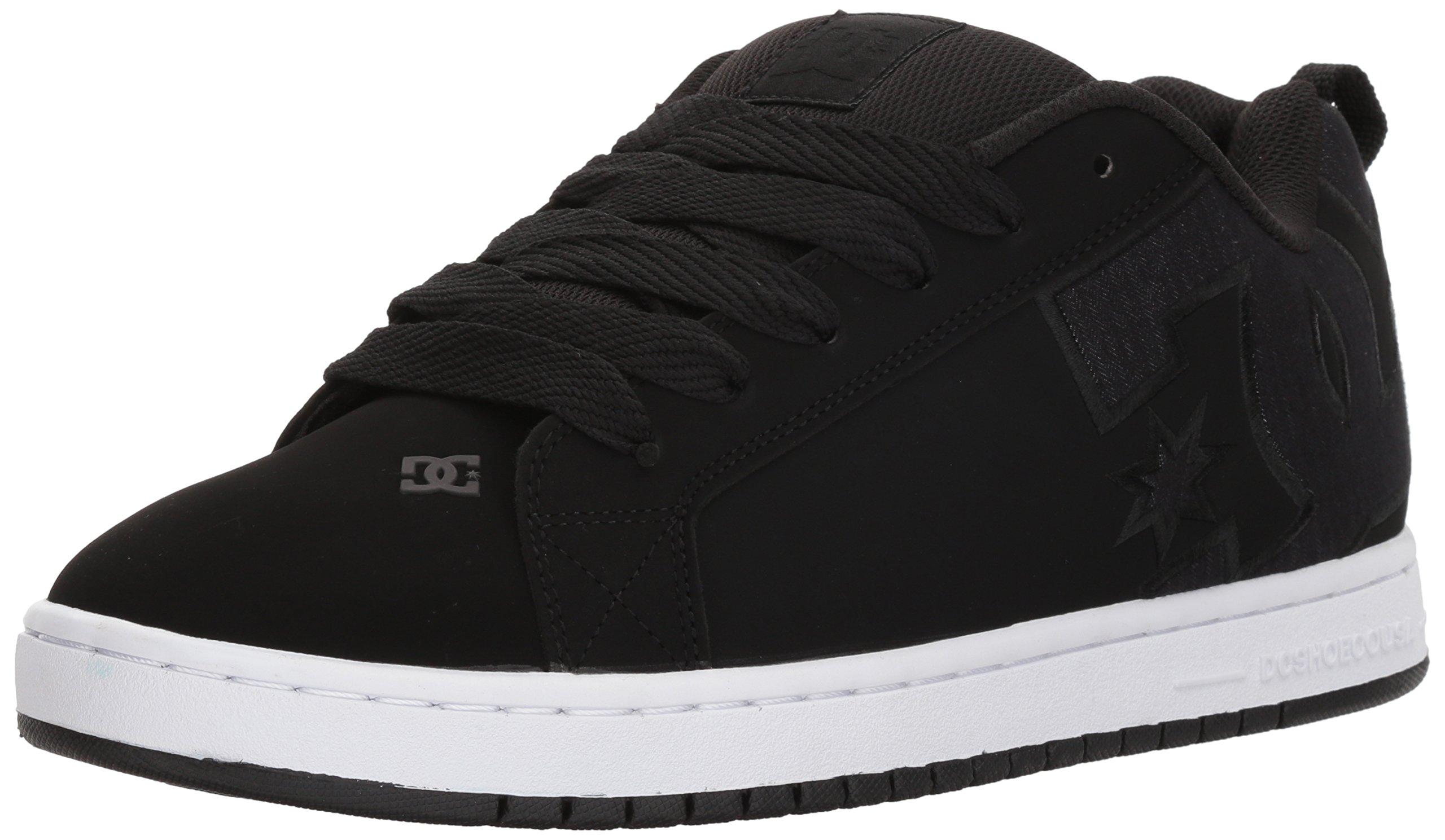 DC Men's Court Graffik SE Skate Shoe, Grey/Black/Black, 13 D US