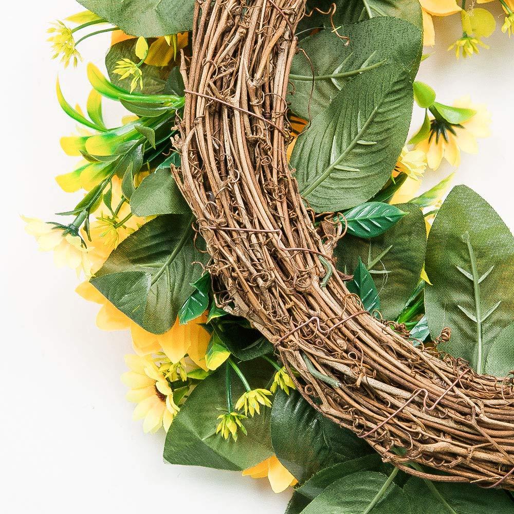 VGIA Green Leaf Eucalyptus Wreath for Summer//Fall Festival Celebration Front Door//Wall//Fireplace Laurel//Eucalyptus Hanger Home Relaxed Decor