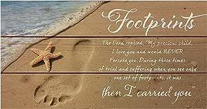 P. Graham Dunn Footprints in The Sand Beach Scene 11 x 20 Wood Pallet Wall Art Sign Plaque