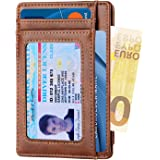 Apsung Minimalist Slim Front Pocket Wallet for Men and Wonmen,Effective RFID Blocking Leather Wallet, Mini Credit Card Holder(Brown)