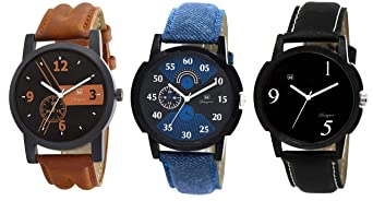 Om Designer Analogue Black Dial Men's & Boy's Watch Leather Strap Combo Pack of 3 Men at amazon