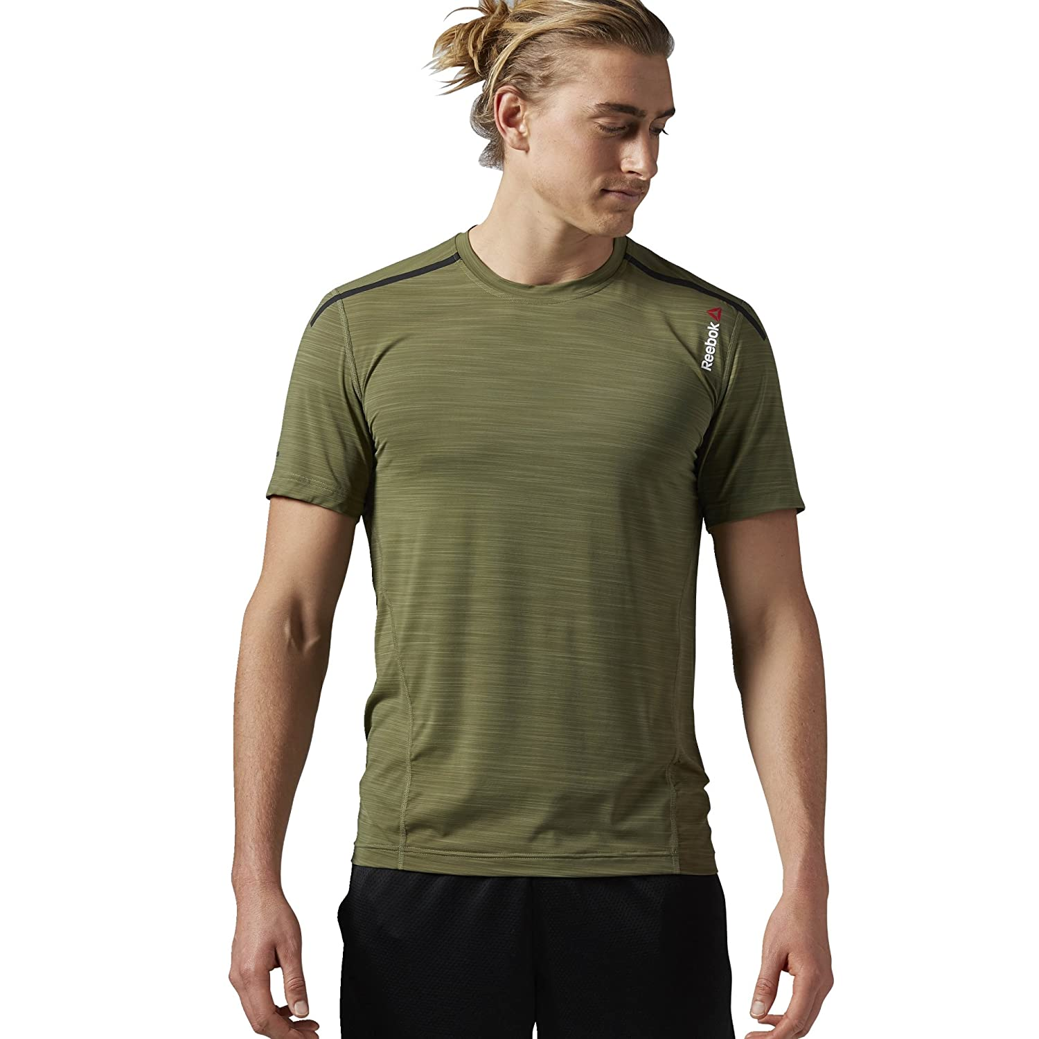 Reebok Men's One Series Activchill Bonded Short Sleeve Top Canopy Green Reebok Performance Canada Apparel Child Code AX9395